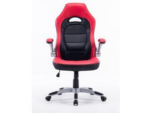 Executive Swivel Gaming Racing Leather High-Back Computer PC Office Chair Manager Chair Red with Black, Thick Padded Flip Up Armrest