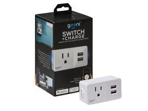 Geeni Switch and Charge Smart Wi-Fi Plug with 2-USB Ports,  Amazon Alexa / Google Assistant / Microsoft Cortana Compatible / No Hub Required