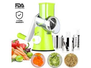 Manual Hand Speedy Mandoline Slicer Pasta Salad Maker Vegetable Fruit Cutter Rotating Drum Cheese Grater Potato Tomato Food Slicer With 3 Round Stainless Steel Blades (Green)