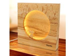 Starthi Moon Table Lamp Warm White LED Night Light Beside Light Beech Wood Decorative Light for Bedroom Kids Room