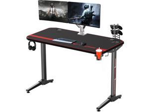 "Vitesse 47"" Gaming Desk Racing Style Computer Table with Free Mouse pad, T-Shaped Professional Gamer Workstation PC Office Desk with Cup Holder & Headphone Hook"