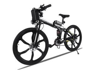 "ANCHEER Electric Mountain Bike with 26"" 21-speed Folding Single Wheel and Lithium Ion Battery for Fast Charging"