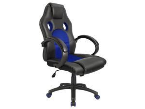 Homall Gaming Office Chair with Big Size Cushion Racing Car Style Bucket Seat, High Back, Executive Swivel, PU Leather & Mesh, Padded Armrests and Lumbar Support (Blue/Black)