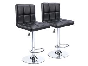 Homall Bar Stools - Black Bonded PU Leather with Larger Seat, Hydraulic Swivel, Backrest, Adjustable Counter Height, and Air lift - Set of 2