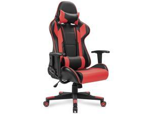 Homall Computer Gaming Chair, Racing Style High-back Reclining Swivel PU Leather Ergonomic Executive  Task Office Chair with Lumbar Support and Headrest, Seat Height Adjustment(Red/Black)