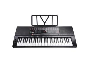 61 Key Full Size Electronic Music Keyboard Electric Piano LCD Display USB Input MP3 Black