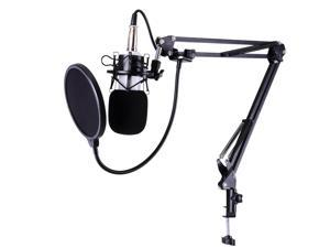 Pro Condenser Microphone w/ Shock Mount Arm Stand Pop Filter For Recording Studio Stage
