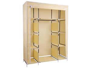 "50""x18""x66"" Portable Closet Storage Organizer Wardrobe Clothes Rack w/ Shelves"