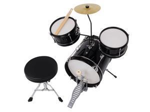 3pcs Junior Kid Children Drum Set Kit Sticks Throne Cymbal Bass Snare Seat Black