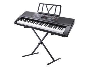 61 Key Full Size Electronic Music Keyboard Kit with Stand Electric Piano LCD Display USB Input MP3