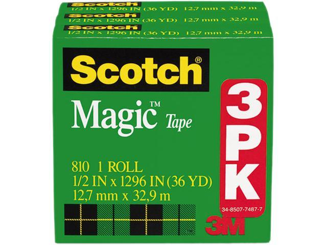 "3-Pack 3M Scotch 810H3 Magic Tape 1/2"" x 1296"" Refill"