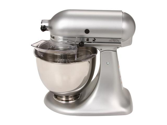 KitchenAid KSM150PSSM Artisan Series 5 Quart Tilt Head Stand Mixer Silver  Metallic