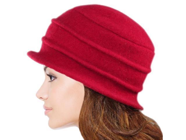 a79b7ab652d65 Dahlia Women s Daisy Flower Wool Cloche Bucket Hat - Red ...