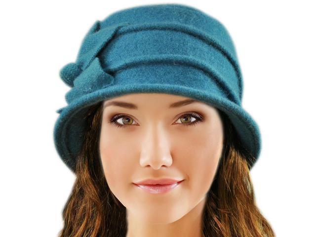 bbe4068276677 Dahlia Women s Daisy Flower Wool Cloche Bucket Hat - Teal Blue ...