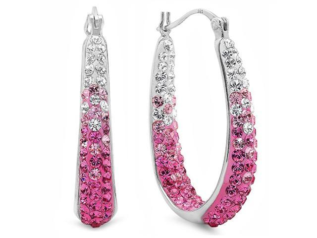 a3f973297 Amanda Rose Sterling Silver Pink and White Crystal Hoop Earrings with  Swarovski Elements