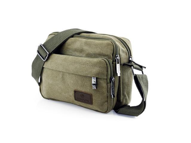 af6a1ea8768 GEARONIC TM Men Vintage Crossbody Canvas Messenger Shoulder Bag School  Hiking Military Travel Satchel - Army
