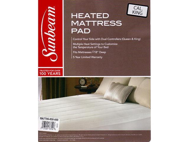 Sunbeam Thermofine Quilted Striped Heated Electric Mattress Pad Cal