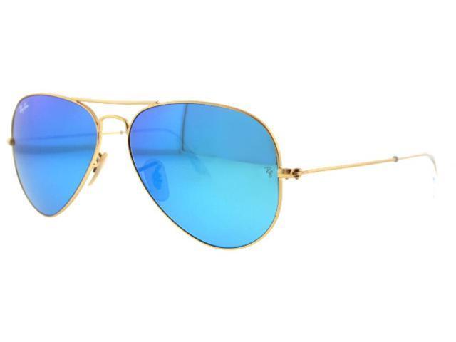 Ray Ban RB3025 Aviator Flash Metal Sunglasses – Gold Frame/Blue ...