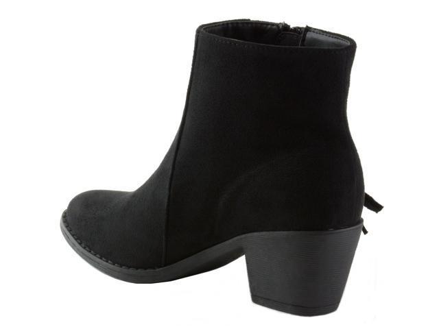 bffc9194c52 Alpine Swiss Arosa Women's Ankle Boots Fringe Shoes Block High Heel ...