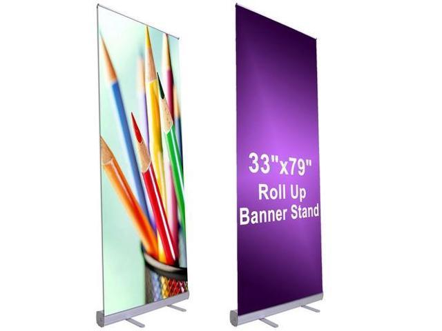retractable roll up banner stand professional for trade show sign signage store display wall exhibition aluminum