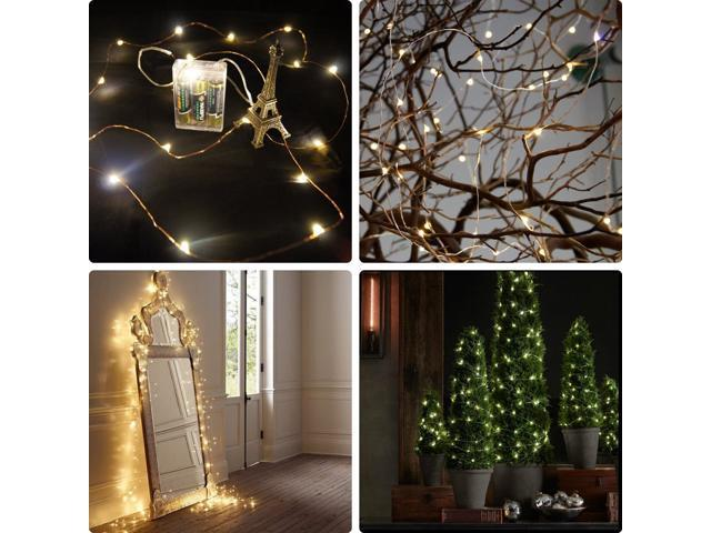 AA Battery Operated LED String Lights waterproof Ultra Thin Copper ...