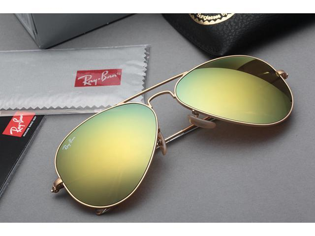 ray ban yellow lens aviator  ray ban rb3025 aviator flash lenses sunglasses gold frame/yellow lens