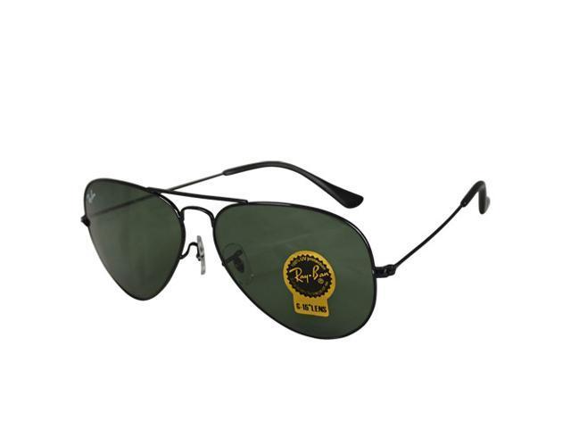 a02fa519f7 Ray Ban RB3025 Aviator Metal Classic Sunglasses - Black Frame Green Lenses  (58mm)