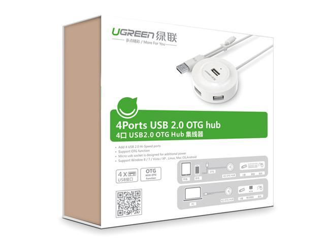Ugreen 20271 USB 2.0 Hub 4 Ports with OTG Function for PC, Cellphones, eReaders