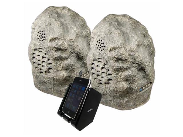 Refurbished Audio Unlimited 900MHz Wireless Indoor Outdoor Rock Speaker Bundle Rechargeable With
