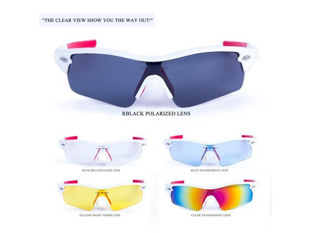 26f8c8542f RIVBOS® 801 Polarized Sports Sunglasses with 5 Interchangeable Lenses for  Men Women Cycling Running Glasses