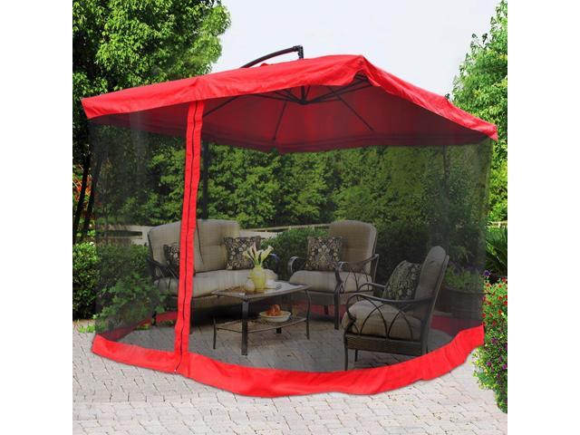 9x9 Square Outdoor Patio Hanging Offset Aluminum Umbrella W Mesh Net Tilt 200g