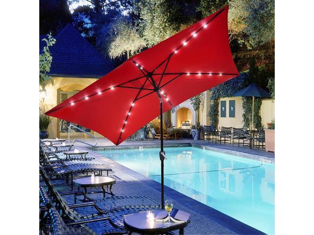 10x6.5u0027 Ft Patio Umbrella W/ Solar Powered LED Light Tilt Garden Market