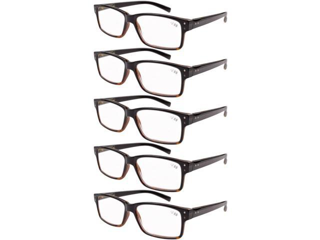 4069b982ec5 Eyekepper 5-pack Spring Hinges Vintage Reading Glasses Men Readers  Black-Yellow Tortoise +