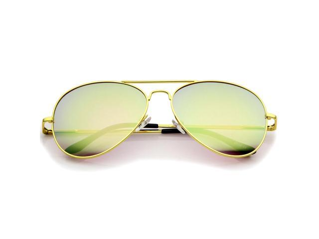 64c689659 Classic Metal Frame Spring Hinges Color Mirror Lens Aviator Sunglasses 58mm  (Gold / Pink Mirror